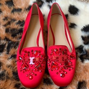 *NEW* Women's red Tory Burch satin loafers